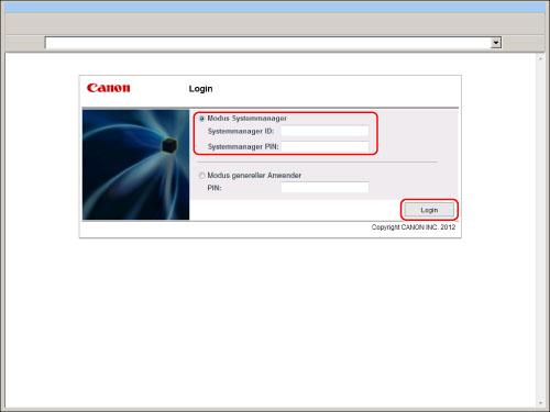 Einloggen In Das System Als Administrator Canon Imagerunner Advance C351if C350i C250i Anwenderhandbuch