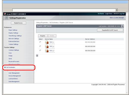 LDAP Server Settings - Canon - imageRUNNER ADVANCE C5255