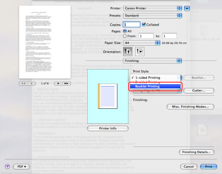 Printing a Booklet (Mac) - Canon - imageRUNNER ADVANCE C9280PRO