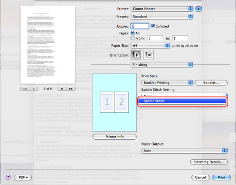 Printing a Booklet (Mac) - Canon - imageRUNNER ADVANCE