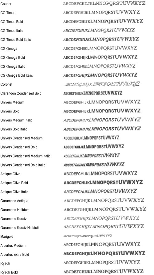 PS/PCL Font List - Canon - imageRUNNER C1335iF C1325iF