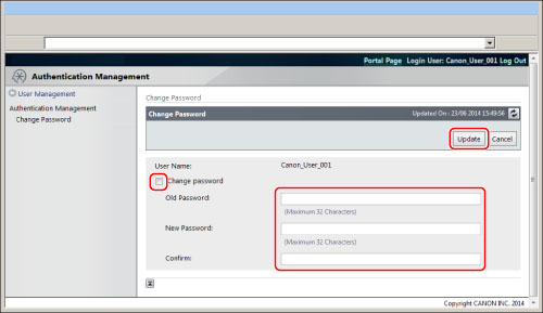 Users Changing Their Own Passwords - Canon - imageRUNNER
