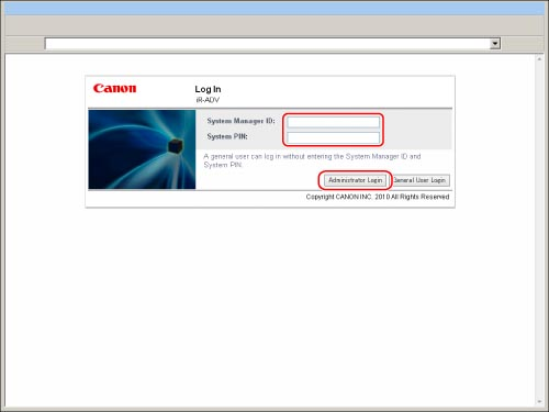 Logging In to the Machine as an Administrator - Canon - imageRUNNER