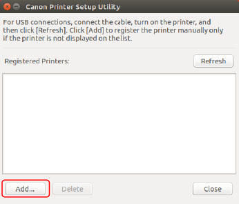 Registering a Printer - Canon - Linux UFRII LT Printer Driver